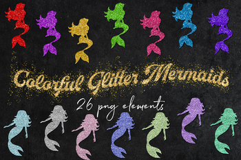 Glitter Mermaids Clip Art, 26 PNG Sparkle Mermaids, Shiny Mermaids Graphics