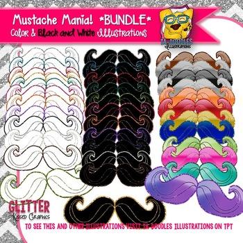 Glitter Mustache Clipart BUNDLE