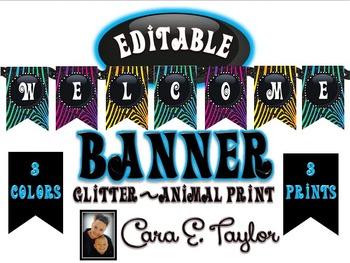 Glitter Neon Animal Print Banner~Editable