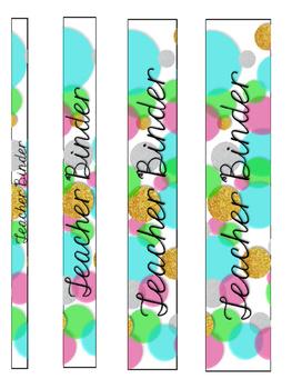 Glitter & Neon Editable Teacher Binder Cover