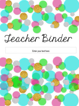 Glitter & Neon Editable Teacher Binder Cover