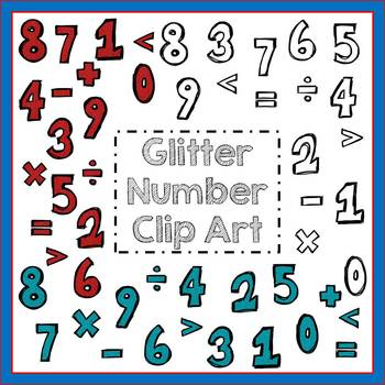 Glitter Number Clip Art - Personal & Commercial Use