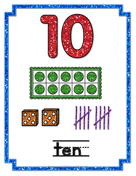 Glitter Number Posters 0-20 (Classroom Decor)