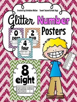 Glitter Number Posters