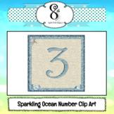Glitter Ocean Number Clip Art