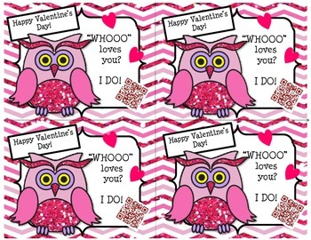 Valentine's Day Glitter Owl Cards with QR Codes