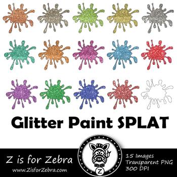 Glitter Paint Splatters Clip art - Commercial Use OK { Z is for Zebra}