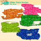 Glitter Paint Strokes Clip Art | Rainbow Graphics & Page Elements for Worksheets