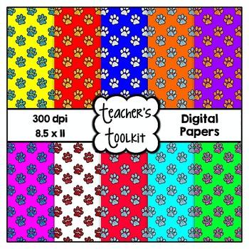 Glitter Paws 2 Digital Background Papers {8.5 x 11} Clip Art CU OK