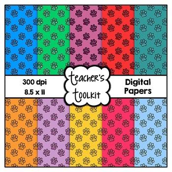 Glitter Paws Digital Background Papers Set 1 {8.5 x 11} Clip Art CU OK