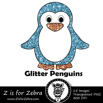 Glitter Penguin  Clip art - Commercial Use OK { Z is for Zebra}