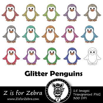 Glitter Penguin  Clip art - Commercial Use OK { Z is for Zebra}