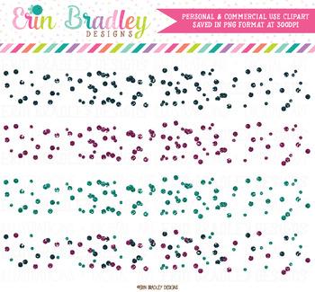 Glitter Polka Dot Confetti Clipart Borders in Blue and Purple