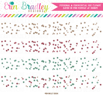 Glitter Polka Dot Confetti Clipart Borders in Pink and Blue