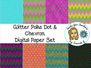Glitter Polka Dots and Chevron Digital Papers {for personal and commercial use}