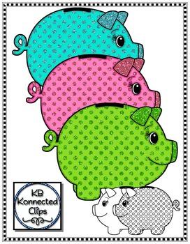 Glitter Polka-dot Piggy Banks - Clip Art