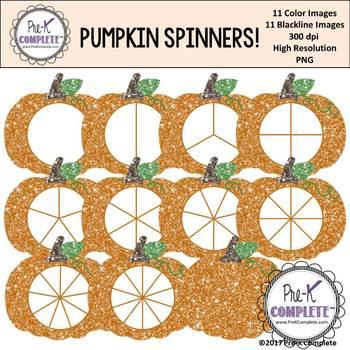Glitter Pumpkin Spinners Clip Art