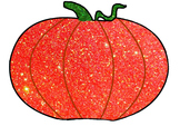 Glitter Pumpkin and Jack-O'-Lantern for Personal or Commer