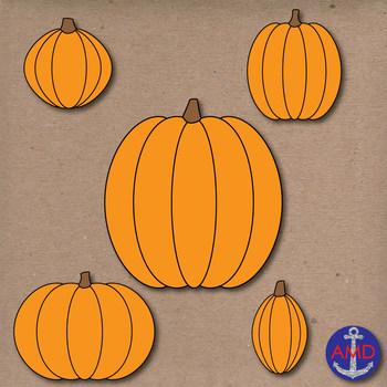 Glitter Pumpkins Halloween Clip Art