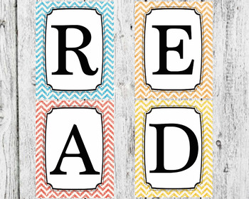 Glitter READ sign for classroom
