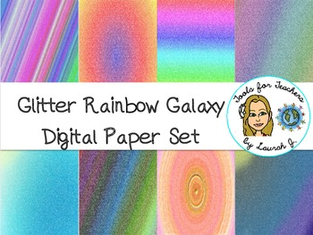 Glitter Rainbow Galaxy Digital Papers {for personal and commercial use}