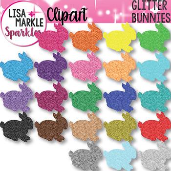 Glitter Rainbow Spring Easter Bunny Rabbit Clipart
