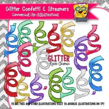 Glitter Ribbon Streamers & Confetti Clip Art
