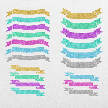 Glitter Ribbons Clip Art, Colorful Sparkle Ribbons