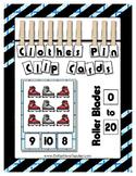 Glitter Roller Blades Clip Counting Cards 0 to 20 Kindergarten & Preschool