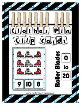 Glitter Roller Blades Clip Counting Cards 0 to 20 Kindergarten & Preschool
