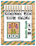 Glitter Sand Shovels Count to 20 Clip Card Math Center ~ H