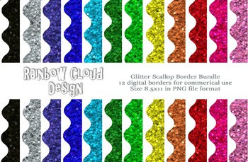 Glitter Scallop Border Frames, 12 digital border frames, size 8.5x11 JPEG & PNG