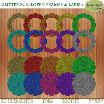 Glitter Scalloped Frames And Labels Clip Art