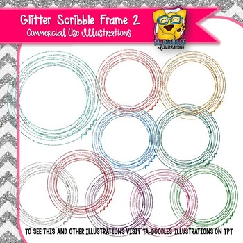 Glitter Scribble Circle Frames 2 Clip Art
