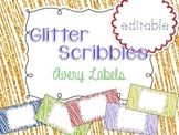 Glitter Scribbles Editable Classroom Labels 2x4 { Avery Label 8163 }