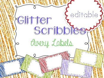 Glitter Scribbles Editable Classroom Labels 2x4 { Avery La