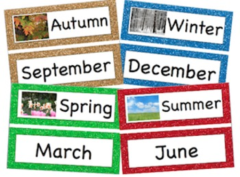 Glitter Seasons and Months of the Year Printable Header and Labels