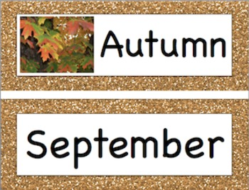 Glitter Seasons and Months of the Year Printable Header an