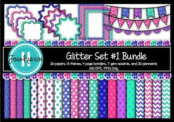 Glitter Set #1 Bundle: Digital Paper and Elements