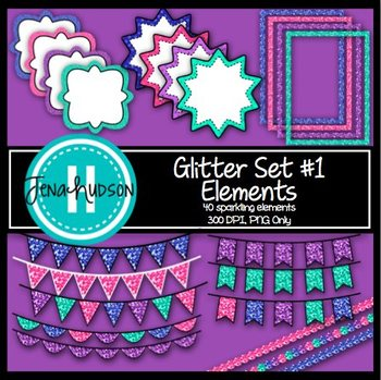 Glitter Set #1 Elements: Frames, banners, and accents