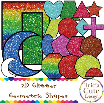Glitter Shapes 2D Geometric Colorful and Rainbow Frames or Label