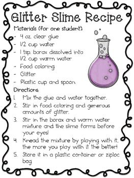 This is an image of Declarative Slime Recipe Printable