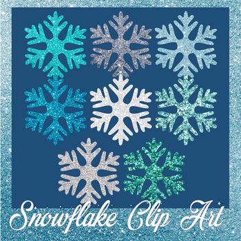 Glitter Snowflake Clip Art- FREEBIE