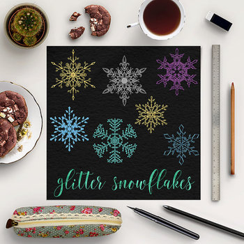 Glitter Snowflakes Clip Art, Winter Graphic Elements