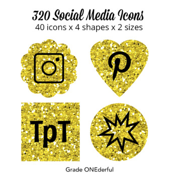 Glitter Social Media Icons : Periscope, Blab, Instagram, Blogger, WordPress