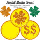 Glitter Social Media Icons for St. Patrick's Day, Shamrock Clipart, Gold Coins