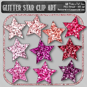 Glitter Sparkle Star Shaped Digital Clip Art in Shades of Pink {10 count}