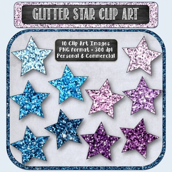 Glitter Sparkle Star Shaped Digital Clip Art - Purple and Blue {10 count}