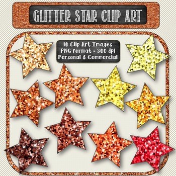 Glitter Sparkle Star Shaped Digital Clip Art in Shades of Gold {10 count}