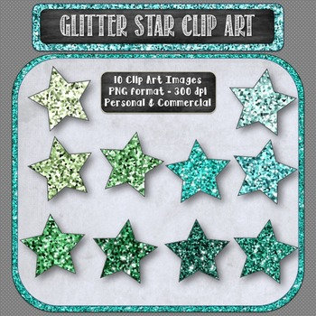 Glitter Sparkle Star Shaped Digital Clip Art in Shades of Green {10 count}